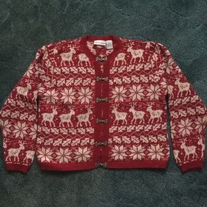ugly christmas sweater cardigan red